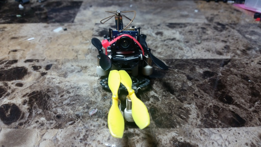 This is the copter all folded up. Not particularly useful feature on such a small quad, but it helps protect everything.